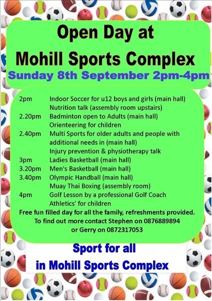 Mohill Sports Complex Open Day Sunday 8th September
